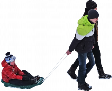 couple with a child in a sleigh 26