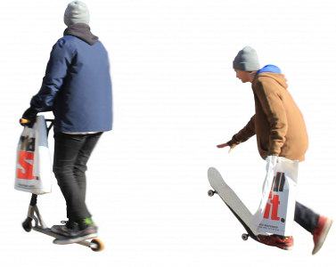 dad with son on skateboard and scooter 26