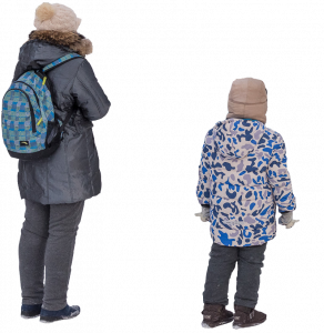 Woman and child in winter clothes 26