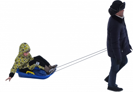 Man with a child sledding 26