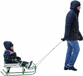 Dad with child in a sled 26