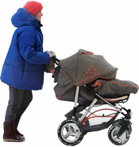 Woman with baby carriage 26