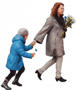 Woman with flowers and daughter running 26