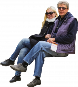 A man with a woman in glasses are sitting 26