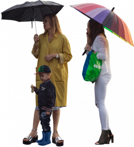 Women with umbrellas and a child 26