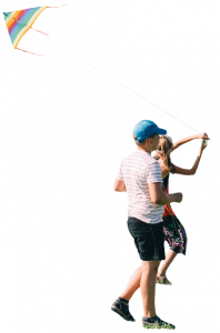 boy and girl fly a kite 26