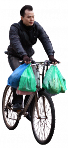 man on bicycle with packages 26