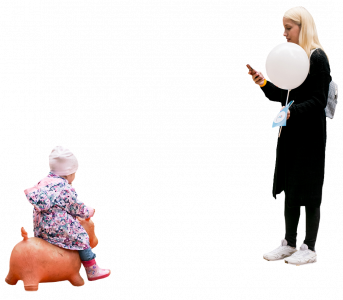 baby on the orange pig and woman with white baloon 26