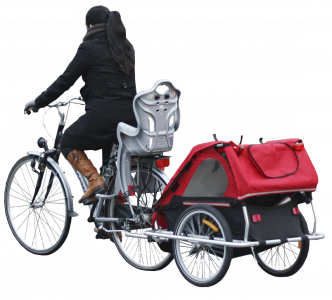 woman riding with a bicycle stroller 26