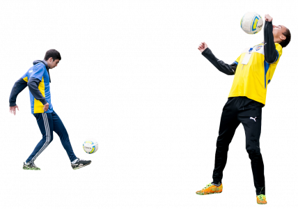 two guys are training with a soccer ball 26