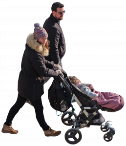 the couple with baby in stroller 26