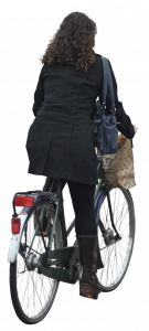 woman with wavy hair on bicycle 26